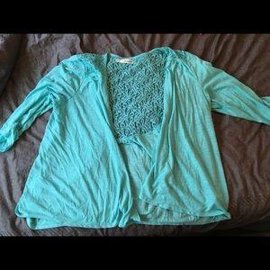 Maurices Teal Lace back Cardigan